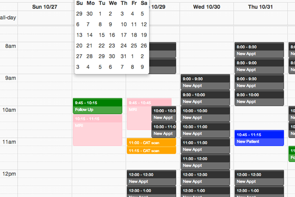 calendar scheduling screenshot